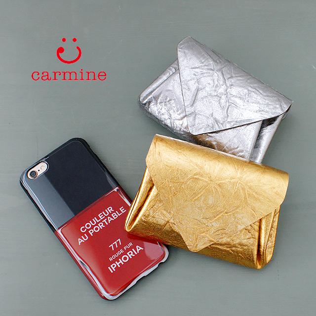 carmine カーマイン 【財布】 ミニウォレット メタリックレザー ゴールド シルバー (mwmt)| 折財布 ミニサイズ 小さい レディース 軽い かわいい 可愛い メタリック 使いやすい 国産 レザー 革
