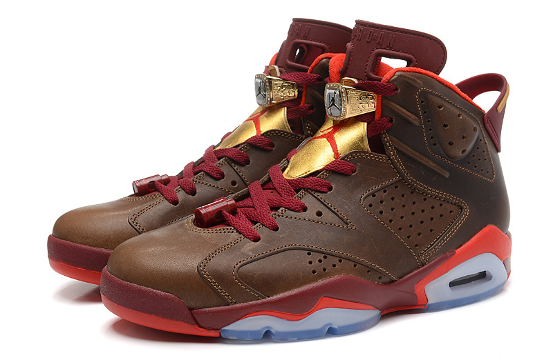 nike air jordan retro vi 6 cigar championship pack champagne (384664 250) team red metallic gold men