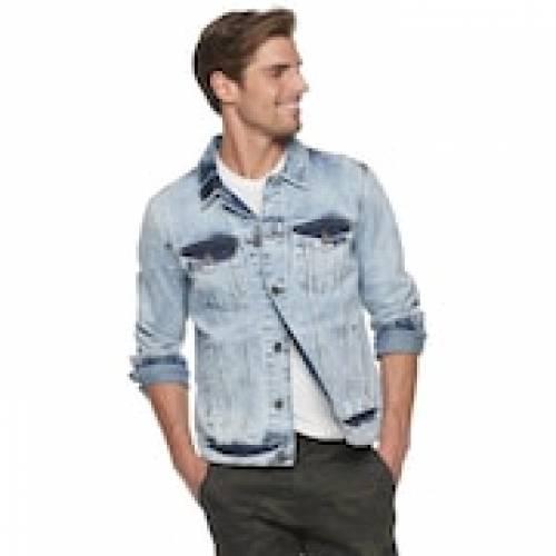 XRAY デニム 青 ブルー 【 BLUE XRAY WASHED DENIM JACKET ACID 】 メンズファッション コート ジャケット