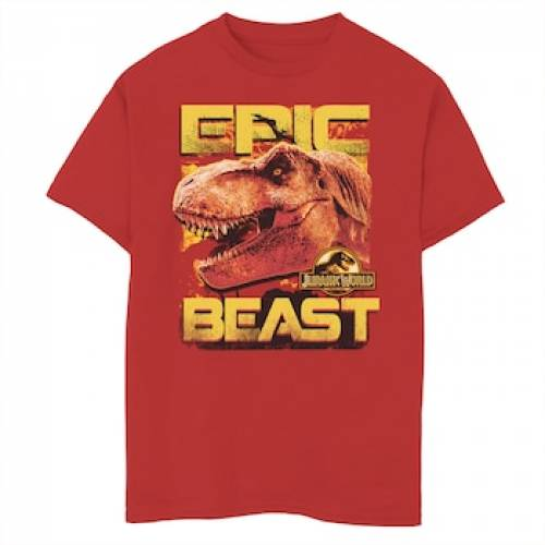 UNBRANDED エピック グラフィック Tシャツ 赤 レッド 【 EPIC RED UNBRANDED JURASSIC WORLD TWO BEAST TREX SIDE PROFILE PORTRAIT GRAPHIC TEE 】 キッズ ベビー マタニティ  トップス Tシャツ:スニケス
