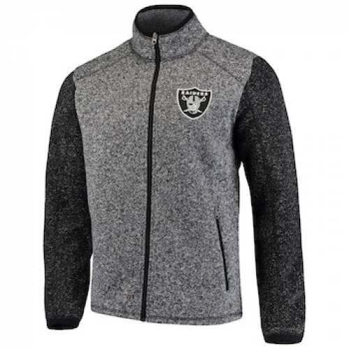 G-III ジースリー チャコール オークランド レイダース ゾーン フリース 【 ZONE GIII SPORTS BY CARL BANKS HEATHERED CHARCOAL OAKLAND RAIDERS ALPINE SWEATER FLEECE FULLZIP JACKET OAK CHARCO 】 メンズファッション コ