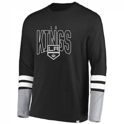 マジェスティック MAJESTIC マジェスティック キングス スリーブ Tシャツ 黒 ブラック 【 KINGS SLEEVE BLACK MAJESTIC GRAY LOS ANGELES 5 MINUTE MAJOR TRIBLEND LONG TSHIRT KGS 】 メンズファッション トップス T