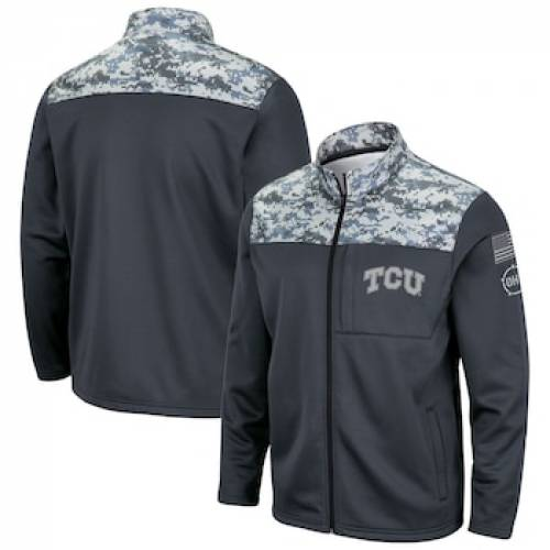 COLOSSEUM チャコール フリース 【 COLOSSEUM CHARCOAL TCU HORNED FROGS OHT MILITARY APPRECIATION FLEECE FULLZIP JACKET CHARCO 】 メンズファッション コート ジャケット