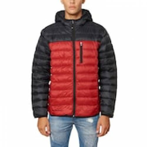SKECHERS スケッチャーズ 赤 レッド 【 RED SKECHERS PACKABLE DOWNFILLED HOODED JACKET 】 メンズファッション コート ジャケット