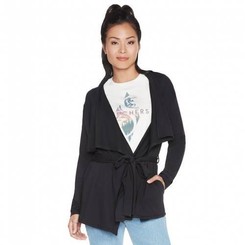ファッションブランド 日本正規代理店品 カジュアル ファッション ジャケット パーカー ベスト ストア スケッチャーズ SKECHERS WATERFALL CARDIGAN BOLD ENDLESS ブラック カーディガン BLACK 黒色
