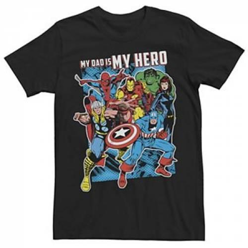 MARVEL Tシャツ 黒 ブラック FATHER'S 【 BLACK MARVEL HEROS MY DAD HERO DAY TEE 】 メンズファッション トップス Tシャツ カットソー:スニケス