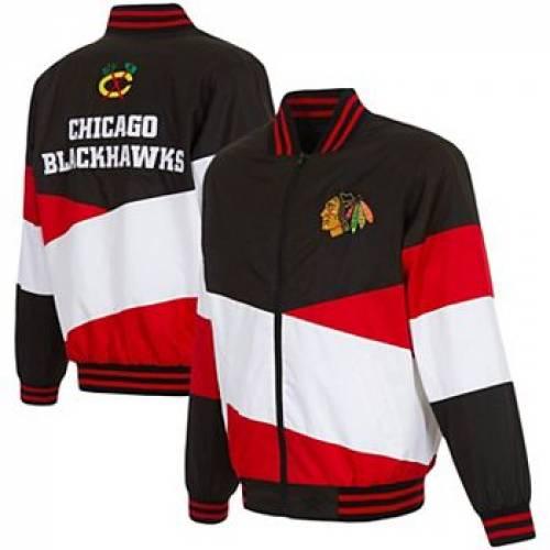 UNBRANDED シカゴ ナイロン 黒 ブラック 【 BLACK UNBRANDED JH DESIGN RED CHICAGO BLACKHAWKS FULLZIP NYLON JACKET HWK 】 メンズファッション コート ジャケット