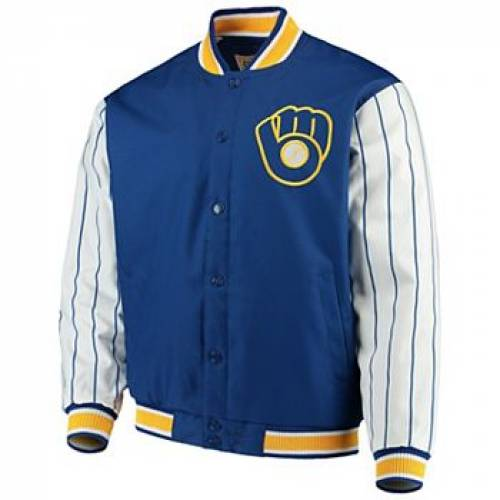 UNBRANDED ミルウォーキー ブルワーズ ニット ジャージ 青 ブルー 【 BLUE UNBRANDED JH DESIGN ROYAL MILWAUKEE BREWERS QUILTED KNIT JERSEY LINING JACKET BRW 】 メンズファッション コート ジャケット