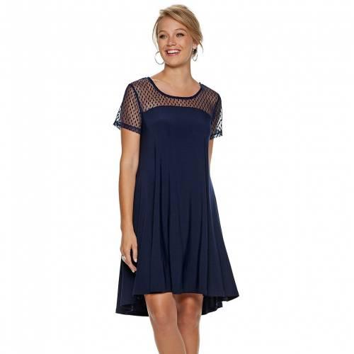 ファッションブランド カジュアル ファッション NINA 正規激安 LEONARD スウィング ドレス 紺色 MESH DOT 直営ストア ネイビー レディースファッション SWING DRESS NAVY SHEER