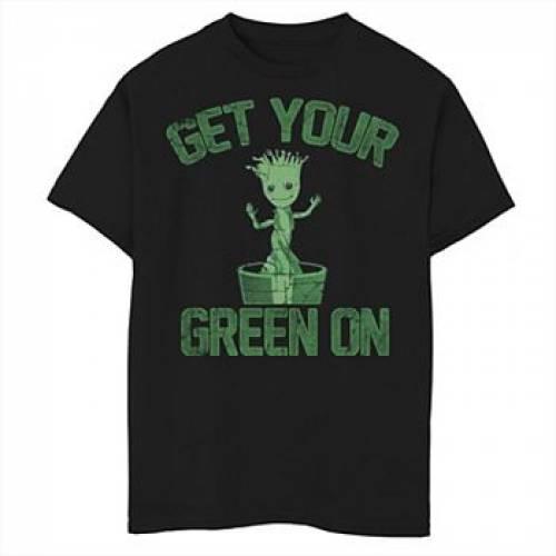 MARVEL 緑 グリーン グラフィック Tシャツ 黒 ブラック 【 GREEN BLACK MARVEL GROOT GRAPHIC TEE 】 キッズ ベビー マタニティ  トップス Tシャツ:スニケス