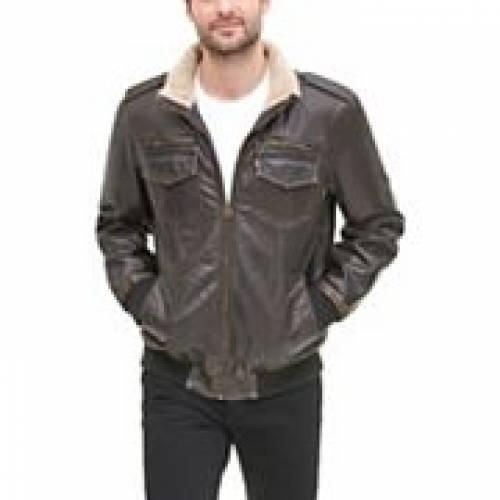 リーバイス LEVI'S 茶 ブラウン LEVI'S 【 BROWN SHERPALINED STANDCOLLAR AVIATOR BOMBER JACKET DARK 】 メンズファッション コート ジャケット