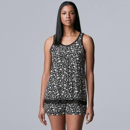 <title>ファッションブランド カジュアル ファッション SIMPLY VERA WANG 黒色 ブラック PAJAMAS: BASIC LUXURY PAJAMA SET BLACK FLORAL PRINT インナー 下着 ナイトウエア レディース ナイト ルーム 直営限定アウトレット パジャマ</title>