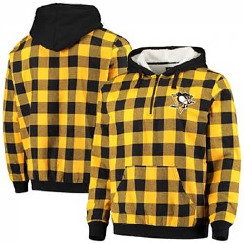 UNBRANDED ピッツバーグ 黒 ブラック 【 BLACK UNBRANDED GOLD PITTSBURGH PENGUINS LARGE CHECK SHERPA FLANNEL QUARTERZIP PULLOVER HOODIE PNG 】 メンズファッション コート ジャケット