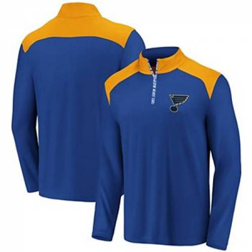 FANATICS 青 ブルー ST. 【 BLUE FANATICS BRANDED GOLD LOUIS BLUES ICONIC CLUTCH QUARTERZIP PULLOVER JACKET BLU 】 メンズファッション コート ジャケット