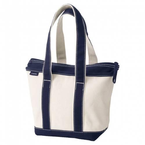 ファッションブランド 交換無料 カジュアル ファッション アクセサリー LANDS' END 品質保証 ナチュラル バッグ 紺色 ZIP TRUE BAG NATURAL NAVY ネイビー TOTE CANVAS TOP