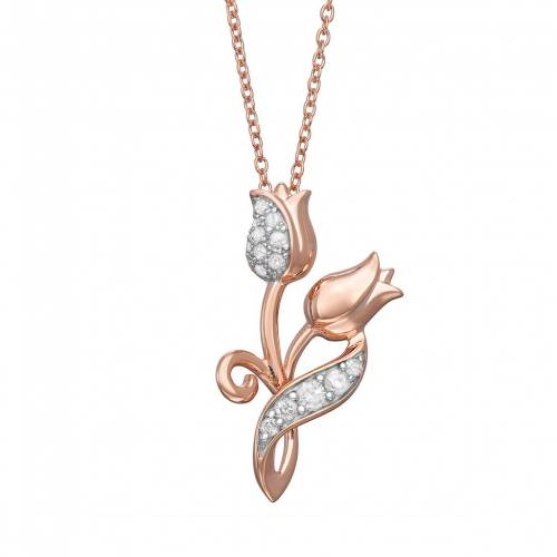 UNBRANDED ダイヤモンド ローズ ネックレス T.W. 【 ROSE UNBRANDED 1 6 CARAT DIAMOND DOUBLE PENDANT NECKLACE TONE 】