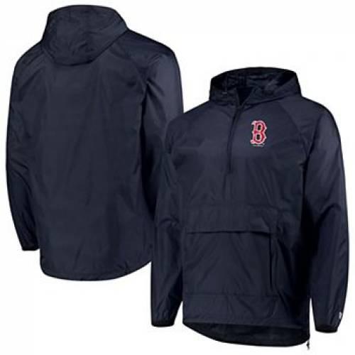 ニューエラ NEW ERA 紺 ネイビー ボストン 赤 レッド 【 NAVY RED NEW ERA BOSTON SOX ANORAK PACKABLE 1 4ZIP HOODIE JACKET RSX 】 メンズファッション コート ジャケット