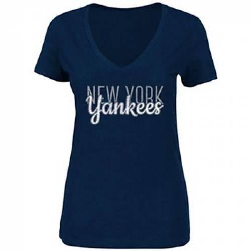UNBRANDED 紺 ネイビー ヤンキース Vネック Tシャツ 【 NAVY UNBRANDED NEW YORK YANKEES PLUS SIZE PRICEPOINT VNECK TSHIRT YNK 】 レディースファッション トップス Tシャツ カットソー