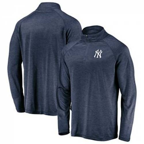 FANATICS 紺 ネイビー ヤンキース ロゴ ラグラン 【 NAVY RAGLAN FANATICS BRANDED NEW YORK YANKEES ICONIC STRIATED PRIMARY LOGO QUARTERZIP PULLOVER JACKET YNK 】 メンズファッション コート ジャケット