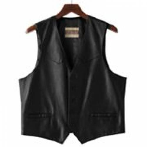 EXCELLED レザー ベスト 黒 ブラック 【 BLACK EXCELLED BUTTONFRONT LEATHER VEST 】 メンズファッション コート ジャケット