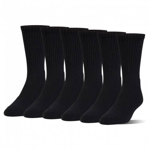 アンダーアーマー カジュアル ファッション UNDER ARMOUR クルー 靴下 黒色 ブラック S CREW 6PACK ジュニア BLACK CHARGED ハイクオリティ キッズ SOCKS ご注文で当日配送 COTTON