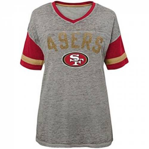 OUTERSTUFF 灰色 グレー グレイ フォーティーナイナーズ Tシャツ グレ JUNIOR'S LET'S 【 GRAY OUTERSTUFF HEATHERED SAN FRANCISCO 49ERS HUDDLE BURNOUT TSHIRT 49R GREY 】 レディースファッション トップス Tシャツ