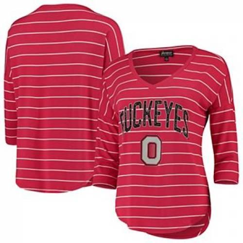 【高い素材】 UNBRANDED オハイオ スケートボード バックアイズ フォール Vネック Tシャツ 赤 レッド オハイオステイト 【 STATE RED UNBRANDED SCARLET FALL IN LINE STRIPED VNECK HALFSLEEVE TSHIRT OSU 】 レディースファッ, TONY style<トニースタイル> 78aa5b90