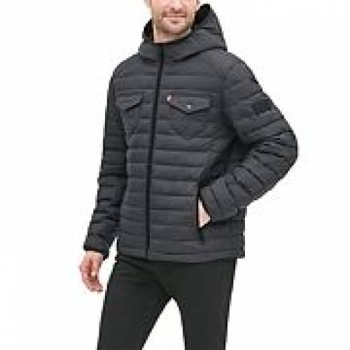 リーバイス LEVI'S トラック 黒 ブラック LEVI'S 【 BLACK QUILTED TRACK HOODED PUFFER JACKET 】 メンズファッション コート ジャケット