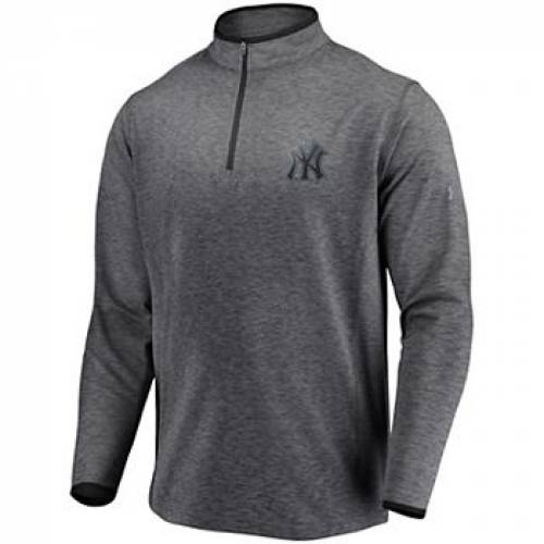 UNBRANDED チャコール ヤンキース ロゴ パフォーマンス 【 UNBRANDED UNDER ARMOUR HEATHERED CHARCOAL NEW YORK YANKEES STRETCH REFLECTIVE LOGO PERFORMANCE QUARTERZIP PULLOVER JACKET YNK CHARCO 】 メンズファッション コート