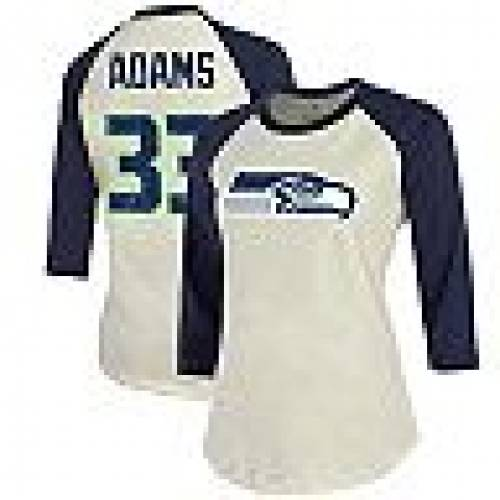 FANATICS アダムス 紺 ネイビー シアトル シーホークス スリーブ ラグラン & 【 NAVY SLEEVE RAGLAN FANATICS BRANDED JAMAL ADAMS CREAM COLLEGE SEATTLE SEAHAWKS 3 4 PLAYER NAME NUMBER TOP SEA BEIGE 】 レディースファ