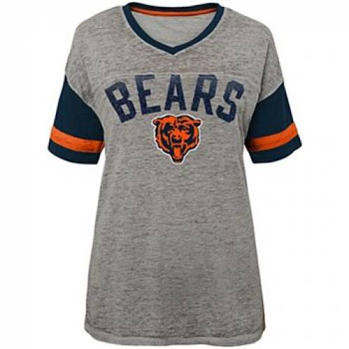 OUTERSTUFF 灰色 グレー グレイ シカゴ ベアーズ Tシャツ グレ JUNIOR'S LET'S 【 GRAY BEARS OUTERSTUFF HEATHERED CHICAGO HUDDLE BURNOUT TSHIRT BRS GREY 】 レディースファッション トップス Tシャツ カットソー