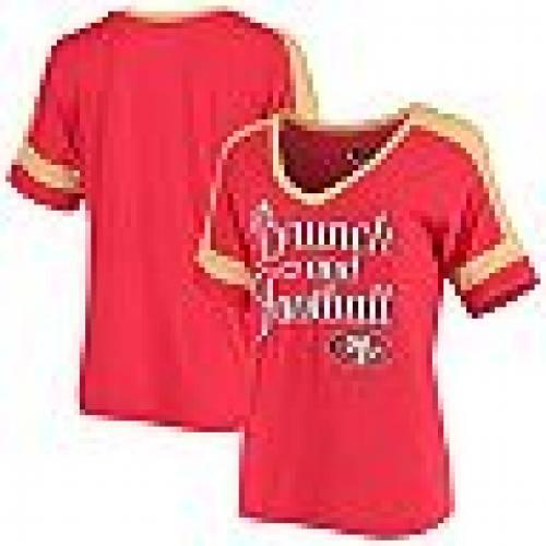 ニューエラ NEW ERA フォーティーナイナーズ Vネック Tシャツ 赤 レッド & 【 RED NEW ERA SCARLET SAN FRANCISCO 49ERS BRUNCH FOOTBALL VNECK TSHIRT 49R 】 レディースファッション トップス Tシャツ カット