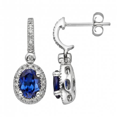 THE REGAL COLLECTION コレクション 白色 ホワイト ゴールド ダイヤモンド イヤリング 青色 ブルー & 4CT. T.W. 【 THE REGAL COLLECTION 14K WHITE GOLD GENUINE SAPPHIRE 1 IGL CERTIFIED DIAMOND FRAME DROP EARRINGS BLUE 】