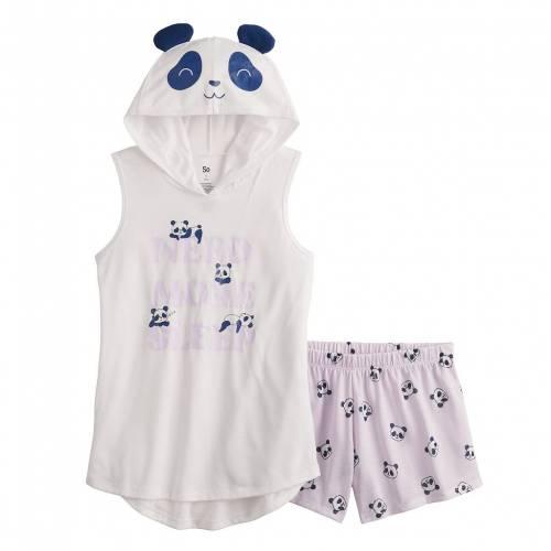 ファッションブランド カジュアル ファッション フード付 タンクトップ ショーツ ハーフパンツ ジュニア キッズ SO S REGULAR お見舞い 激安通販ショッピング SET PAJAMA PLUS PANDA SHORTS HOODED IN SIZE 618
