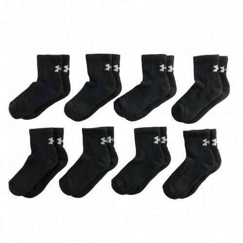 アンダーアーマー カジュアル ファッション 通販 激安 UNDER ARMOUR 靴下 黒色 ブラック + QUARTER BLACK S ジュニア BONUS 2 6PACK [正規販売店] キッズ SOCKS