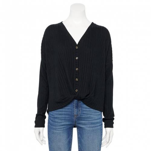ファッションブランド カジュアル ファッション スリーブ 黒色 お買い得 ブラック 長袖 ショップ ジュニア BLACK SLEEVE BUTTON THROUGH TOP SO キッズ