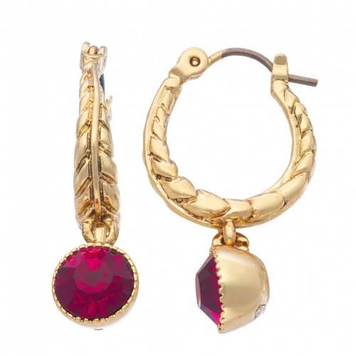 ファッションブランド 《週末限定タイムセール》 カジュアル ファッション アクセサリー ゴールド 赤 レッド フープ イヤリング EARRINGS GOLD CRYSTAL SIMULATED NAPIER DROP HOOP TONE ご予約品 RED