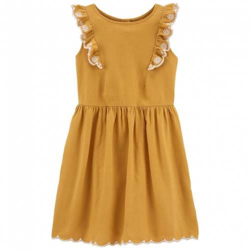 <title>ファッションブランド カジュアル 営業 ファッション カーターズ CARTER'S ドレス 412 RUFFLE LINEN DRESS MUSTARD キッズ ベビー マタニティ</title>