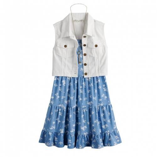 ファッションブランド カジュアル ファッション KNIT WORKS ニット ドレス 海外限定 ベスト ネックレス 新作からSALEアイテム等お得な商品満載 青色 ブルー S716 WITH BLUE VEST ベビー MATCHING NECKLACE RUFFLE キッズ TIERED マタニティ SET DRESS