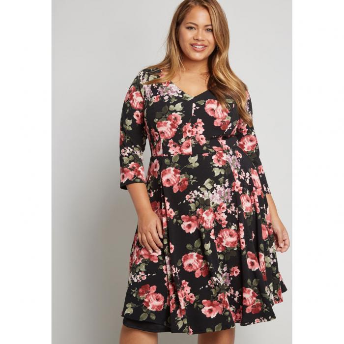 NO_BRAND_SHOWN ナイト スリーブ ドレス レディースファッション ワンピース 【 Date Night Done Right 3/4 Sleeve Dress 】 Black Floral