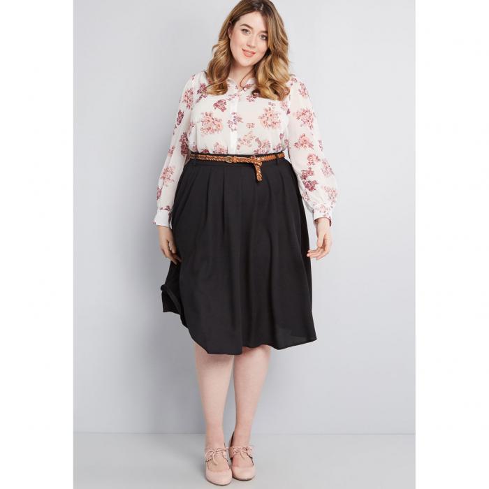 MODCLOTH レディースファッション ボトムス スカート 【 Breathtaking Tiger Lilies Midi Skirt 】 Black