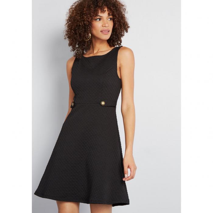 MODCLOTH ドレス 黒 ブラック 【 BLACK MODCLOTH SIXTIES SIGNATURE ALINE DRESS 】 レディースファッション ワンピース