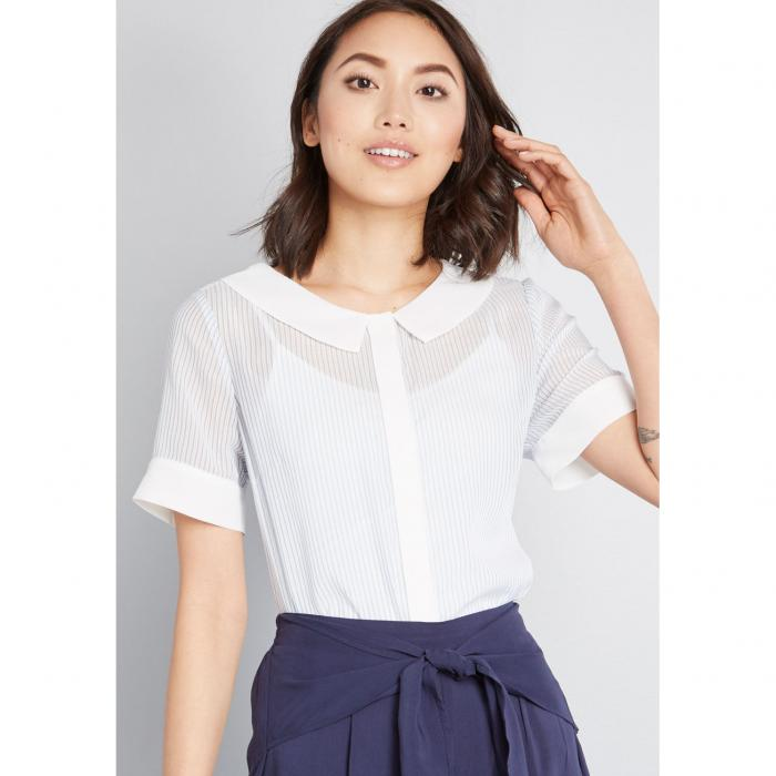MODCLOTH タイム 青 ブルー 【 BLUE MODCLOTH A FINE TIME SHEER COLLARED BLOUSE 】 レディースファッション トップス