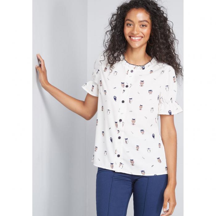 ファッションブランド カジュアル ファッション 全店販売中 トップス 半袖 NO_BRAND_SHOWN 白色 ホワイト レディースファッション BLOUSE PRINT BUTTONUP WHITE 大規模セール LIVE LIGHTLY