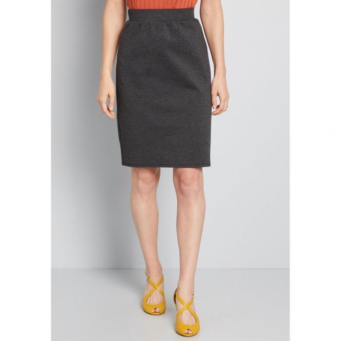 NO_BRAND_SHOWN ソリッド チョイス ニット レディースファッション ボトムス スカート 【 Solid Choice Knit Pencil Skirt 】 Charcoal