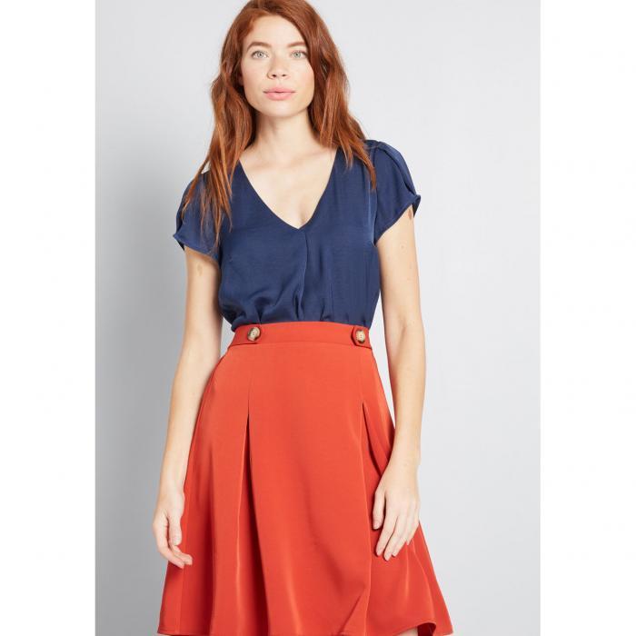 ファッションブランド カジュアル ファッション トップス 半袖 モドクロス MODCLOTH スリーブ BLUE GENUINE BLOUSE 青色 現品 SLEEVE レディースファッション 商品追加値下げ在庫復活 SELF ブルー