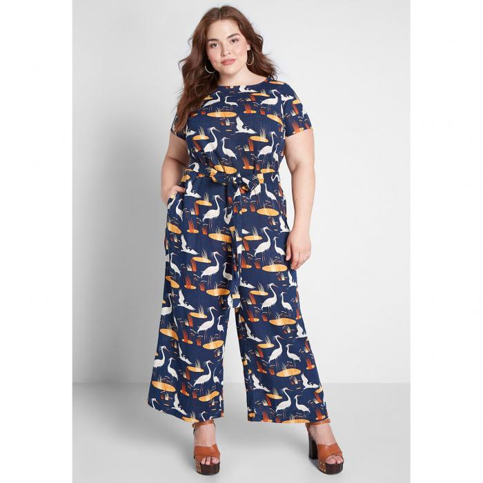 MODCLOTH レディースファッション オールインワン サロペット 【 Bold Notion Tie Waist Jumpsuit 】 Navy Bird Print