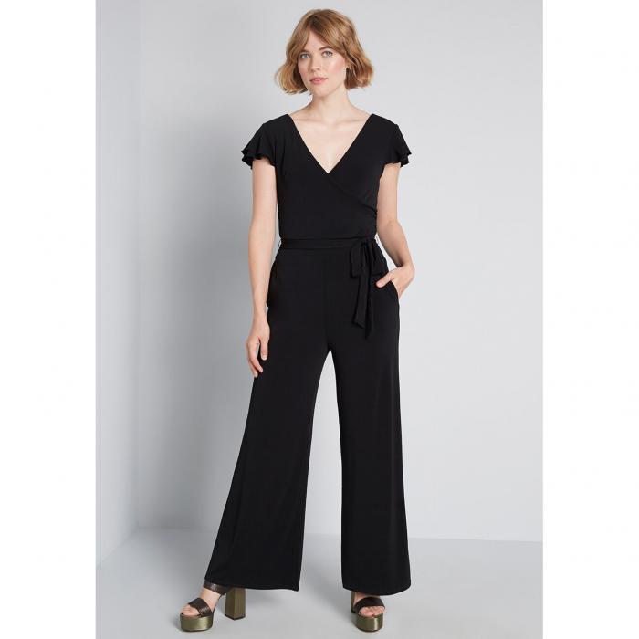MODCLOTH レディースファッション オールインワン サロペット 【 Elegant Everywhere Ruffled Jumpsuit 】 Black