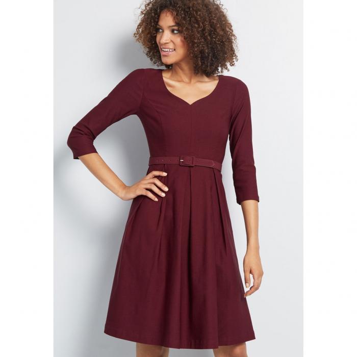 MODCLOTH ドレス レディースファッション 【 Sartorial Secret Fit And Flare Dress 】 Burgundy