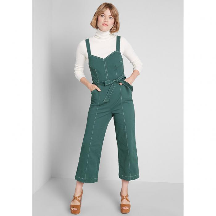 MODCLOTH ソリッド レディースファッション オールインワン サロペット 【 A Solid Plan Cropped Jumpsuit 】 Green